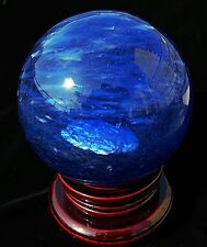 white cloud in blue sky !! blue smelt clear quartz crystal sphere ball + stand
