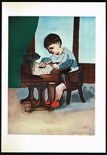 1950's Old VINTAGE Abstract Boy Drawing PICASSO Art Offset Lithograph PRINT