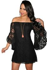 Women's Plus Size Clothing 2X Lace Off The Shoulder Mini Dress SEXY Bell Sleeves