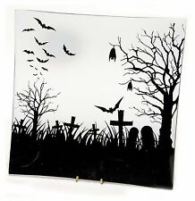 "Glass Halloween Plate Tray Bat Graveyard Design 7.75"" square NEW HO6673"