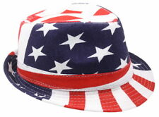 Travell Well Fedora Stylish Hat Mens Classic Trilby Short Brim USA Flag Colors