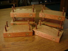 "LOT 6 OAK DUCK DECOY STANDS WOOD DISPLAY SCHMIDT BRASS SHOTSHELLS 1-1/2"" PEGS"