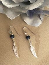 Sterling Silver Genuine Natural  Blue Sapphire Feather Earrings Drop Dangle