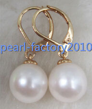 new 10-11MM AAA PERFECT south sea white pearl earrings 14K  GOLD