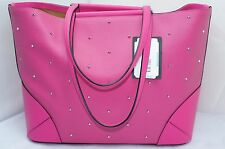 MCM Claudia Studs Shopper Tote Shoulder Bag Pink Logo Handbag Medium Leather NWT
