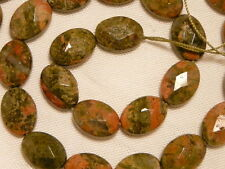 """UNAKITE GEMSTONE BEADS, 10 X 14 MM FACETED OVAL, 28 PCS """"NEW"""" AUZ SELLER"""