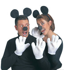 MOUSE DRESS UP SET NOSE EARS GLOVES MICKEY MINNIE FANCY DRESS PARTY ACCESSORY