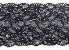 "Beautiful Navy Wide Soft Stretch Lace Trim 6.5""/17cm Lingerie Costume Lace - 1M"