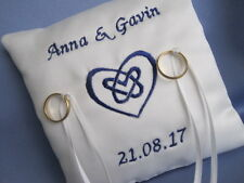IVORY/WHITE PERSONALISED CELTIC HEART KNOT BRIDAL WEDDING RING CUSHION PILLOW