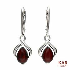CHERRY BALTIC AMBER STERLING SILVER 925 JEWELLERY EARRINGS. KAB-148s