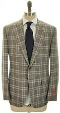Isaia Napoli Suit 'Gregory' Wool 44 54 Gray Blue Plaid 06SU0117 $3595