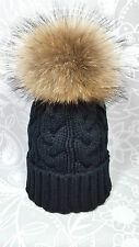 Black Bobble Hat with Raccoon Fur XL 19cm Pom Pom Hat Ski Hat Beanie