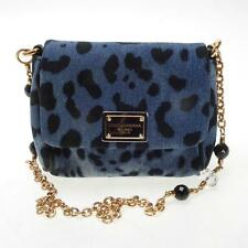 DOLCE & GABBANA DENIM LEOPARD PRINT HANDBAG, GOLD CHAIN STRAP, DUST BAG