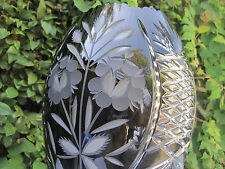 "VINTAGE BOHEMIA  BLACK 24% LEAD HAND CUT CRYSTAL JAR SHAPE VASE 12"" MINT NIB"