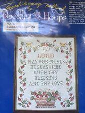 Stamped Cross Stitch Linen Sampler Kit Blessing Prayer by Needles N Hoops