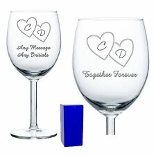 Personalised Wine Glasses x2 Anniversary Gift Wedding Gift Couples Gift Engraved