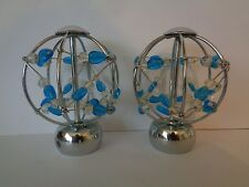 Pair of Chrome Effect Beaded Finials End For 28mm Curtain Pole Blue & Clear Bead