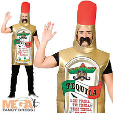 Tequila Bottle Adult Fancy Dress Mexican Mens Alchohol Drink Stag Party Costume