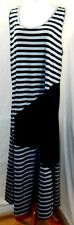 MAGIC WOMEN PLUS SIZE 2X NAVY BLUE GRAY STRIPED LONG SUMMER SUN T SHIRT DRESS