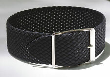 Black braided nylon vintage watch band 1960s/70s 17.3mm or 11/16 inches size