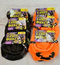 Lot of 6 Gemmy Brand Black Cat And Jack O Lantern Collapsible Candy Buckets 2001