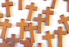 Wholesale Lot of 50 Greek Style Small Wood Crosses, Medium Brown