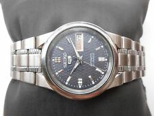 RARE VINTAGE SS MID SIZE 32MM GRAY DIAL SEIKO 5 MEN AUTOMATIC WRISTWATCH