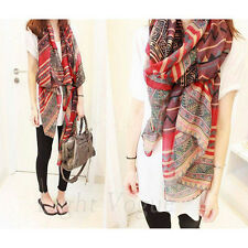 Lady Red Vintage Women Long Soft Cotton Voile Print Scarves Shawl Wrap Scarf s