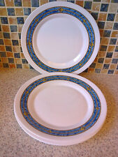 BORMIOLI ROCCO WHITE MILK GLASS DINNER PLATES X 4 WITH BLUE BORDER DESIGN