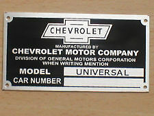 1927 1928 1929 1930 1931 1932  UNIVERSAL CHEVY CAR INFO DATA ID PLATE