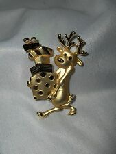 Vintage AJC Christmas Holiday Reindeer &  Gifts  Pin Brooch Gold Finish NICE