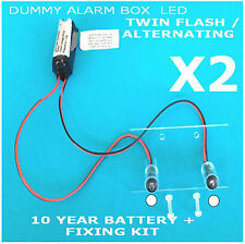 Twin Flash/Alternating White LED Dummy Alarm Box Kit 10 Yr Batt (TWIN PACK)