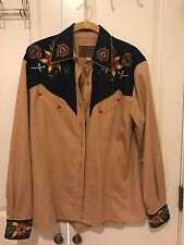 WOMENS VINTAGE WESTERN EMBROIDERED SHIRT SIZE L BY RIFFLE RANGE EUC!!!!