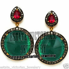 Victorian Vintage 2.25Cts Rose Cut Diamond Emerald Ruby Jewelry Silver Earring