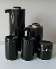 HAKUSAN porcelain - Cylindrical seasoning set 5pc, black, Masahiro Mori design