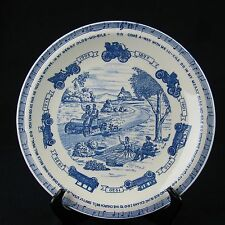 Vintage VERNON KILNS Oldsmobile Commerative plate 1950 Blue and White