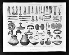 1874 Bilder Print - Bronze Age Artifacts - Celts Axe Daggers Ceramic Jewelery