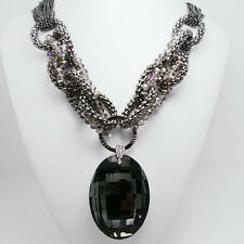 Exaggerated Glamor Fashion Black Crystal Beaded Oval Chain Bib Necklace