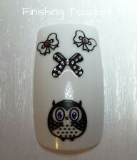 3D Nail Art Sticker- Owl Decals #320 CH014 Bow Bird Animal Rhinestone Transfer