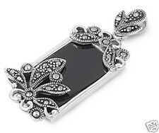USA Seller Black Onyx Marcasite Pendant Sterling Silver 925 Best Price Jewelry