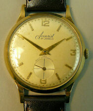 A FINE VINTAGE 9K GOLD ACCURIST 21 JEWEL MANUAL WIND WRISTWATCH G.W.O.