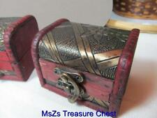 Small Solid Wood Hand Carved Treasure Chest Trinket Box with Design on Top *NEW*