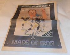 VINTAGE 1997 NEW ORLEANS SAINTS MIKE DITKA MADE OF IRON OLD PAPER SECTION