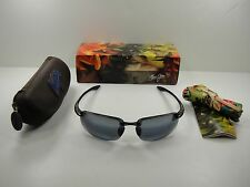 MAUI JIM POLARIZED HOOKIPA SUNGLASSES 407-02 GLOSS BLACK FRAME/GREY LENS, NEW!