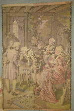 "Vintage French Parlour Scene Tapestry 17 3/8"" x 11 3/8"""