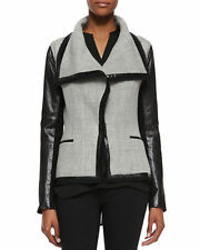 Vince Boucle Scuba Leather Sleeves Woven Jacket Grey/Black Size 2 XS $695 NWT
