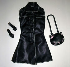 Barbie, My Scene doll clothes: Black dress, kitty bag & shoes