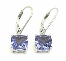 #E90808L 1.88ct Twilight Helenite 8mm Cushion W/Gold Over 925 Silver Earrings