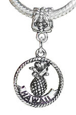 Aloha Hawaii Trip Pineapple Dangle Bead for Silver European Style Charm Bracelet