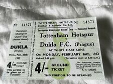 1962 SPURS TOTTENHAM HOTSPUR V DUKLA PRAGUE UN USED TICKET